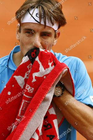 Tommy Robredo of Spain During His First Round Match Against Guillermo Coria of Argentina at the French Open Tennis Tournament at Roland Garros in Paris France 26 May 2008