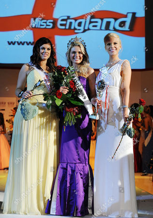 Miss Derby Laura Coleman, winner, Miss UK, with Miss Surrey Chloe Marshall second (left) and Miss Norwich Jessica Linley who came third