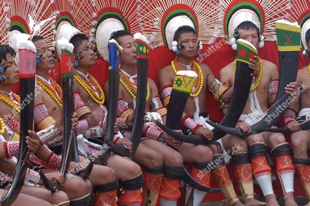 85beb5bcf8 Angami Naga Tribesmen in Their Traditional Dress During the Hornbill  Festival Celebration at Kisama Village in