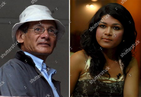 A Composite Picture Consists of a File Photo Dated 27 August 2007 of Confessed Killer Charles Sobhraj (l) and a Picture of His Fiancee Nihita Bishwas (r) During a Press Conference with Media in Kathmandu Nepal On 05 July 2008 Twenty-year-old Nihita Engaged with 64-year-old Confessed Killer Charles Sobhraj On 03 July at Bhadragol Jail in Kathmandu Nihita Who Met Sobhraj While He Was Looking For an Interpreter Continued Her Meetings with Him Until They Fell in Love the Serial Killer Sobhraj Was Arrested From a Kathmandu Casino in September 2003 and Was Sentenced to Life Imprisonment by a District Court in July 2004 On Charges of Murdering an American and a Canadian Tourist in Kathmandu in 1975