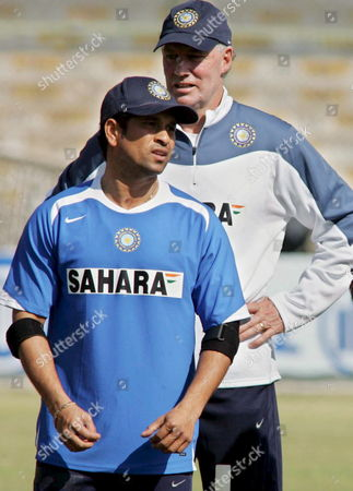 Indian Player Sachin Tendulkar (front) and Coach Greg Chappell During a Practice Session in Karachi On Saturday 28 January 2006 Pakistan and India Will Play Third and Last Test Match in Karachi Starting Sunday 29 January