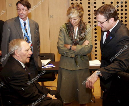 (l-r) German Interior Minister Wolfgang Schaeuble Finland's Minister of Migration and European Affairs Astrid Thors and Austrian Interior Minister Guenther Platter Talk Before the Start of a Plenary Session During an Informal Meeting of European Union (eu) Ministers of Justice and Home Affairs in Brdo Slovenia On 25 January 2008 Slovenia Currently Holds the Eu Presidency