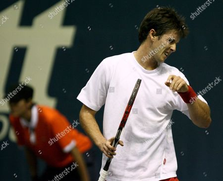 Simon Stadler of Germany Reacts After Losing a Point to Novak Djokovic of Serbia During Their Second Round Match of the Atp Thailand Open Tennis Tournament 2008 at the Impact Arena in Bangkok Thailand 25 September 2008 Djokovic Defeated Stadler 6-1 6-3