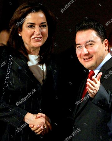 Greek Foreign Minister Dora Bakoyannis (l) and Her Turkish Counterpart Ali Babacan Pose to Photographers Before the Black Sea Economic Cooperation Organization Foreign Ministers' Meeting in Ankara Turkey On 25 October 2007 Greek Fm Dora Bakoyianni Said Thursday Her Country is Against Terrorism and Condemned Terrorist Activities