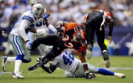 Cincinnati Bengals Player Cedric Benson (c) is Tripped Up by Dallas Cowboys Player Anthony Henry (b) in the First Half of the Game at Texas Stadium in Irving Texas Usa 05 October 2008