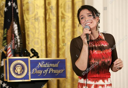 Stock Picture of Christian Singer Rebecca St James Performs For U S President George W Bush During the National Day of Prayer Ceremony in the East Room of the White House in Washington Dc Thursday 04 May 2006