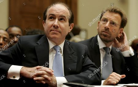Stock Photo of Philippe Dauman (l) President and Ceo of Viacom and Edgar Bronfman Jr President and Ceo of Warner Music Group Testify Before a House Subcommittee Hearing On 'Media Stereotypes and Degrading Images' On Capitol Hill in Washington D C Usa On 25 September 2007 the Inquiry Was Inspired in Part by the Firing of Radio Personality Don Imus Over Racially Insensitive Remarks Directed at African American Women On the Rutgers University Basketball Team