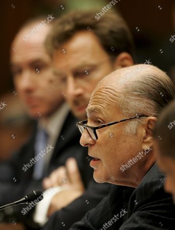 Stock Picture of (l to R) Philippe Dauman President and Ceo of Viacom Edgar Bronfman Jr President and Ceo of Warner Music Group and Doug Morris President and Ceo of Universal Music Group Testify Before a House Subcommittee Hearing On 'Media Stereotypes and Degrading Images' On Capitol Hill in Washington D C Usa On 25 September 2007 the Inquiry Was Inspired in Part by the Firing of Radio Personality Don Imus Over Racially Insensitive Remarks Directed at African American Women On the Rutgers University Basketball Team