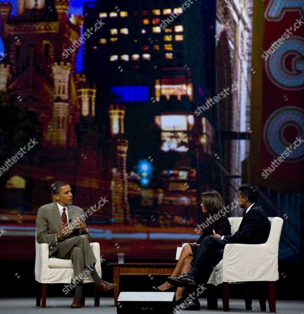 Us Senator and Democratic Presidential Candidate Barack Obama (l) Appears with Hosts Cnn Correspondent Suzanne Malveaux (c) and Time Magazine Correspondent Ramesh Ratnesar (r) at a Presidential Forum at the Unity 2008 Journalists of Color Conference in Chicago Illinois Usa 27 July 2008 the Event Was Obama's First On Us Soil Since Returning From His Recent Overseas Trip