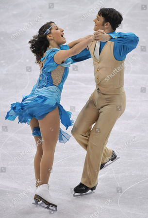 Nikki Georgiadis (l) and Graham Hockley (r) of Greece Skate During the Ice Dance Original Dance at the World Figure Skating Championships in Los Angeles California Usa 26 March 2009