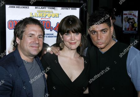Us Actors John Melendez (l) Bellamy Young (c) and Director Michael Delorenzo (r) Arrive For the Film Premiere of National Lampoon's 'One Two Many' in Los Angeles California Usa 10 April 2008 'One Two Many' is the Story of One Man's Quest to Find the Perfect Girlfriend a Girlfriend Who Will Make His Dream of Having a Threesome Come True