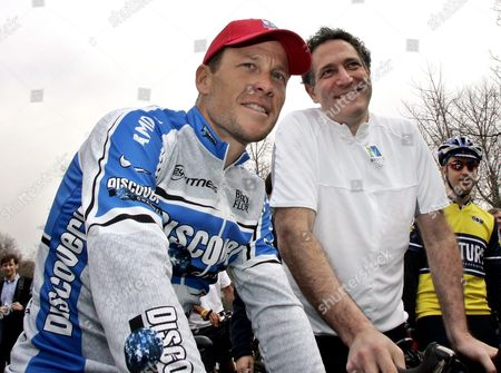 Olympian and Six -time Tour De France Champion Lance Armstrong (l) Takes a Short Bike Ride with Deputy Mayor and Founder of New York's 2012 Bid Dan Doctoroff to Show His Support For New York City's Bid For the 2012 Olympic Games As in New York's Central Park Thursday 07 April 2005