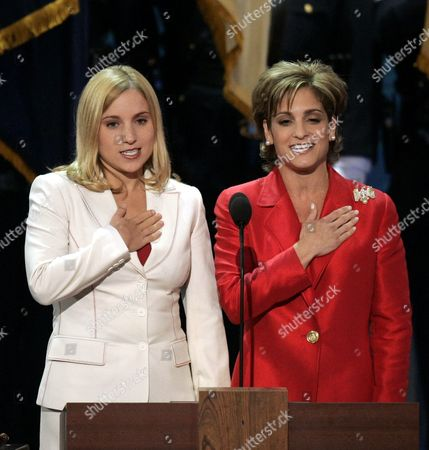 Us Olympic Gold Medalists Kerri Strug (l) and Mary Lou Retton (r) Lead the Pledge of Allegiance to Poen the Final Night of the Republican National Convention at Madison Square Garden in New York City Thursday 02 September 2004