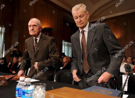 Former U S National Security Adviser Zbigniew Brzezinski (r) and Retired Air Force General and Former National Security Adviser Brent Scowcroft Arrive to Testify Before the Senate Foreign Relations Committee's Hearing On 'U S Strategy Regarding Iran' On Capitol Hill in Washington Dc Usa On 05 March 2009 Brzezinski Advised Former President Carter and Scowcroft Worked For Presidents Ford and George H W Bush