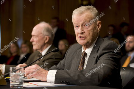 Former U S National Security Adviser Zbigniew Brzezinski (r) and Retired Air Force General and Former National Security Adviser Brent Scowcroft Testify Before the Senate Foreign Relations Committee's Hearing On 'U S Strategy Regarding Iran' On Capitol Hill in Washington Dc Usa On 05 March 2009 Brzezinski Advised Former President Carter and Scowcroft Worked For Presidents Ford and George H W Bush