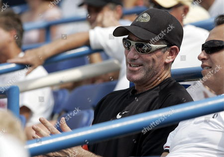Tennis Coach Brad Gilbert the Onetime Coach of Andre Agassi and Andy Roddick Watches His Pupil Andy Murray of Great Britain Defeat Mardy Fish of the Us at the Legg Mason Classic in Washington Dc Friday 04 August 2006