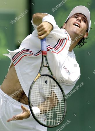 Vince Spadea of the Usa Serves to Ivan Ljubicic of Croatia During Their Third Round Match at the Nasdaq-100 Open in Key Biscayne Florida Sunday 27 March 2005