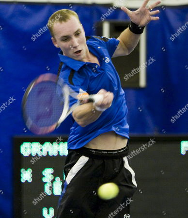 Steve Darcis of Belgium Hits a Return Against Vincent Spadea of the Usa During Their First Round Regions Morgan Keegan Championships Tennis Match at the Racquet Club of Memphis in Memphis Tennessee Usa 26 February 2008