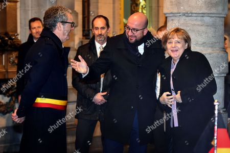 Charles Michel, Angela Merkel and Yvan Mayeur in Brussels