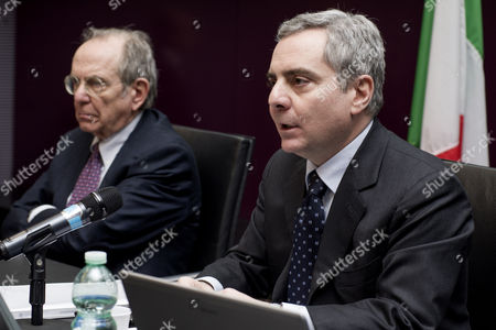 Italian Minister of Economy and Finance Pier Carlo Padoan, Vice-President of EIB European Investment Bank Dario Scannapieco