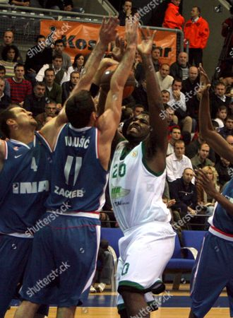 Eric Bernard Jr Williams of a Ir Avellino Italy (r) Struggles For a Ball with Vedran Vukusic (c) and William Jared Homan (l) the Both of Cibona Zagreb During the Euroleague Basketball Match in Zagreb On 26 November 2008