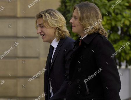 Jean Sarkozy (l) and Pierre Sarkozy (r) Sons of French President Nicolas Sarkozy Arrive at Elysee Palace in Paris France 22 October 2007 Both Sons Are From Sarkozy's First Marriage