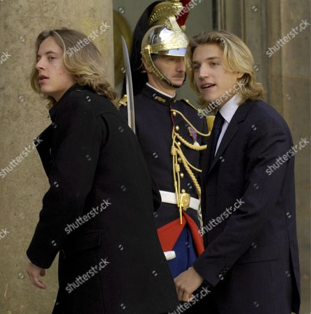 Jean Sarkozy (r) and Pierre Sarkozy (l) Sons of French President Nicolas Sarkozy Arrive at Elysee Palace in Paris France 22 October 2007 Both Sons Are From Sarkozy's First Marriage