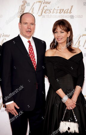 Prince Albert Ii of Monaco and U S Actress Lesley Anne Down Pose During the Opening Night of the 47th Monte Carlo Television Festival at the Grimaldi Forum in Monaco 10 June 2007
