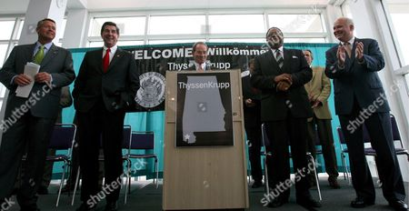 (l-r) Mobile County Commissioner Steve Nodine Alabama Governor Bob Riley Mobile Area Chamber of Commerce President Winn Hallet Mobile Mayor Sam Jones and Usa Congressman Jo Bonner of Alabama Stand On Stage During the Beginning of a News Conference to Announce the Building of a Thyssenkrupp Ag Steel Mill in Mobile Alabama Usa On 11 May 2007 German Steelmaker Thyssenkrupp Ag Chose Alabama Over Louisiana For a Steel Plant Described by Experts As the First Large-scale Project of Its Kind in the United States in Decades