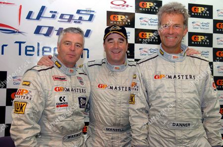 Brtish Gp Masters Driver Nigel Mansel (c) Flanked by German Driver Christian Danner (r) and British Driver Derek Warwick Pose For a Photograph After They Finished As Top Three in the Qualifying of Gp Masters of Qatar at Lusail International Circuit Outskirts of Doha Qatar On Friday 28 April 2006 Gp Maters of Qatar Championship Race Scheduled For Saturday April 29