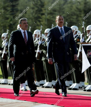Turkish President Abdullah Gul and Azerbaijan Counterpart Ilkham Aliev Review the Honour Guard During the Welcome Ceremony in Ankara Turkey 05 November 2008
