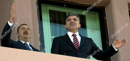 Stock Picture of Turkish President Abdullah Gul and Azerbaijan Counterpart Ilkham Aliev Chat Before the Welcome Ceremony in Ankara Turkey 05 November 2008