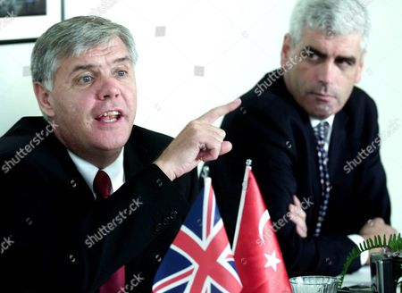 David Swift (l) Deputy Chief Constable Stafford Police and Jim Begbie From the British Consulate in Istanbul During Security Meeting For the Turkey V Endland Euro 2004 Qualification Match in Istanbul Saturday 11 October 2003
