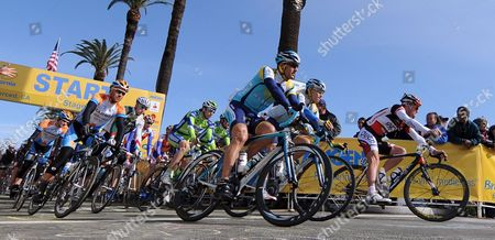 Ukrainian Cyclist Yaroslav Popovych of Team Astana (c) and Us Floyd Landis From Team Ouch Presented by Maxxis (r) at the Start of Stage 4 of the Amgen Tour of California in Merced California Usa 18 February 2009