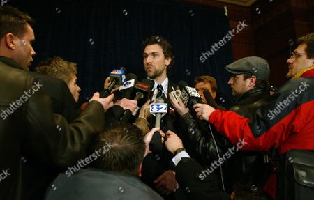 Stock Photo of Nhlpa President Trevor Linden Addresses the Media During a Late Afternoon Press Conference in New York Saturday 19 February 2005 After Meeting For Over Six Hours the Nhl and the Players' Association Still Weren't Able to Come to an Agreement the Nhl Canceled Its Season On Wednesday Unable to Reach a New Collective Bargaining Agreement with Locked out Players Becoming the First North American Professional Sports League to Lose an Entire Schedule Due to a Labor Dispute