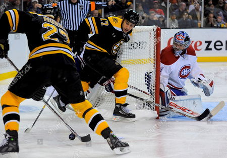 Montreal Canadiens Goalie Carey Price (r) Defends the Net From Attacking Boston Bruins Right Wing Glen Murray (l) and Boston Bruins Left Wing Milan Lucic (c) During the Third Period Win by the Montreal Canadiens in the the Eastern Conference Quarterfinal Playoff Game Between the Boston Bruins and the Montreal Canadiens at the Td Bank North Garden in Boston Massachusetts Usa 15 April 2008 Montreal Leads the Best of Seven Series 2-1 Epa/cj Gunther