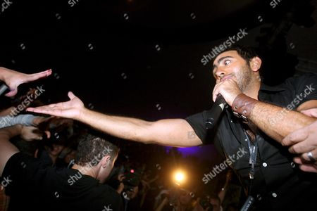 Egyptian Pop Singer Tamer Hosny Performs During a Concert at 'La Coupole' Stadium On 24 April 2008 in Algiers Algeria the Concert Gathered Some 4 000 Algerian Fans