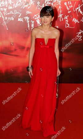 Stock Photo of Hong Kong Actress Irene Wan Poses On the Red Carpet During the Opening Ceremony of the 27th Hong Kong Film Awards in Hong Kong China 13 April 2008