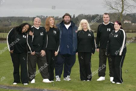 'Celebrity Fit Club' TV - 2005 - (L-R) Kym Mazelle, Aldo Zilli, Tina Baker, Andy Ross, Julie Goodyear, Paul Ross and Lizzy Bardsley.