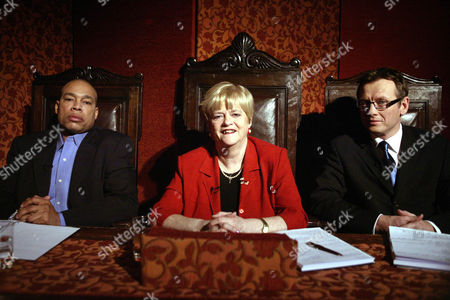 Stock Image of 'Celebrity Fit Club' TV - 2005 -  L-R Harvey Walden, Ann Widdecombe and Dr Adam Carey.