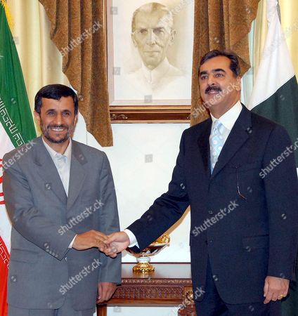 Stock Picture of Iran's President Mahmoud Ahmadinejad (l) Meets with Pakistani Prime Minister Syed Yousaf Raza Gillani (r) at the Prime Minister's Office in Islamabad Pakistan 28 April 2008 During His Four-hour Visit Ahmadinejad is to Meet with President Pervez Musharraf and to Sign a Landmark Agreement On a 4 8 Billion Euro Iran-pakistan-india (ipi) Gas Pipeline Project the Picture On the Wall Shows Father of the Pakistani Nation Mohammad Ali Jinnah