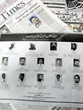 A Picture Released On Friday 07 January 2005 Shows a Half-page Advertisement by the United States Embassy in Pakistan in the Urdu-language Jang Newspaper in Islamabad Containing Names of 14 Most-wanted Al-qaeda Suspects Including Osama Bin Laden His Lieutenant Ayman Al-zawahiri and Mullah Omar and Offering Rewards of Up to 25 Million Dollars For Information Leading to Their Arrest in Islamabad