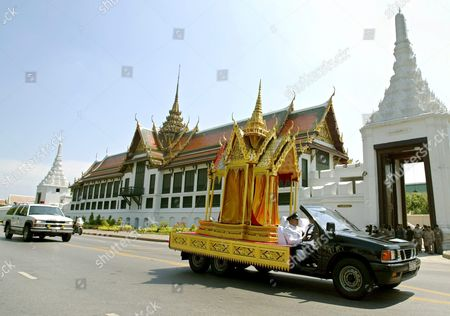 A Truck Carrying a Cinerary Urn During the Cremation Ceremony of Thai King Bhumipol Adulyadej 'S Grandson Khun Bhumi Jensen Passes by the Royal Grand Palace in Bangkok Thailand Saturday 30 April 2005 Khun Bhumi Jensen the Only Son of Princess Ubolratana Rajakanya the Eldest Daughter of Their Majesties the King and Queen Died When the Tsunami Struck the Andaman Coast in Southern Thailand On 26 December