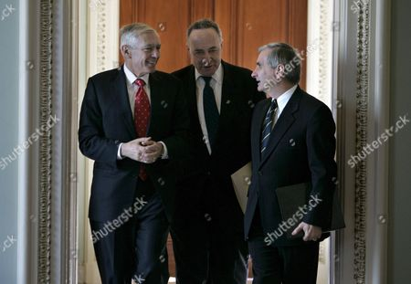(l to R) Retired Army General Wesley Clark Senator Charles Schumer (democrat / New York) and Senator Jack Reed (democrat / Rhode Island) Walk to a Press Conference On Capitol Hill in Washington Dc On Wednesday 10 January 2007 the Group Voiced Opposition to President Bush's Planned Troop Surge in Iraq