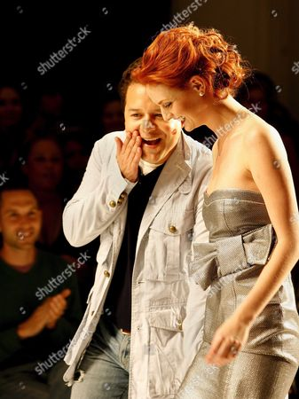 Designer Alvin Valley (l) Chuckles After Being Kissed by One of His Models at the Conclusion of His Show During Fashion Week in Los Angeles California Tuesday 20 March 2007