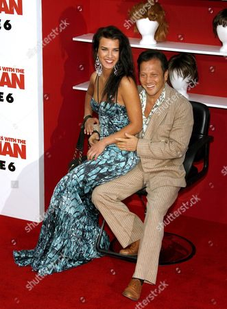 Us Actor Rob Schneider (r) and Natalia Guslistaya (l) Arrive For the Film Premiere of 'You Don't Mess with the Zohan' in Los Angeles California Usa 28 May 2008 'Zohan' (adam Sandler) is the Story of an Israeli Commando Who Fakes His Own Death in Order to Pursue His Dream: Becoming a Hairstylist in New York