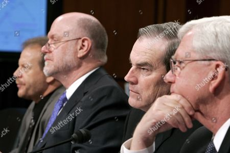 Stock Picture of (l to R) Ray Mckinney of the Coal Mine Safety and Health Administration David Dye Acting Assistant Secretary of Labor For Mine Safety and Health Bob Friend Deputy Assistant Secretary For Mine Safety and Health and Edward Clair Associate Solicitor Division of Mine Safety and Health Testify During a Us Senate Appropriations Sub-committee Hearing On Mine Safety On Capitol Hill in Washington Dc Monday 23 January 2006 the Hearing Follows Two Recent Coal Mining Accidents That Claimed the Lives of 14 Miners in the State of West Virginia