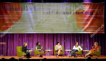 Stock Image of German Supermodel/actress Heidi Klum (r) Talks About How She Started Her Own Business As Moderator Us Journalist Willow Bay (l) Us Businesswoman Leslie Blodgett (2l) Mexican Author Chiqui Cartagena (3r) and Us Author Ariane De Bonvoisin (2r) Listen at the Women's Conference in Long Beach California Usa 22 October 2008 the Women's Conference Under the Leadership of California Governor Arnold Schwarzenegger and First Lady Maria Shriver Has Become One of the Largest Gathering of Women in the Nation the Conference Aims to Empower Women and Inspire Them to Become Architects of Change