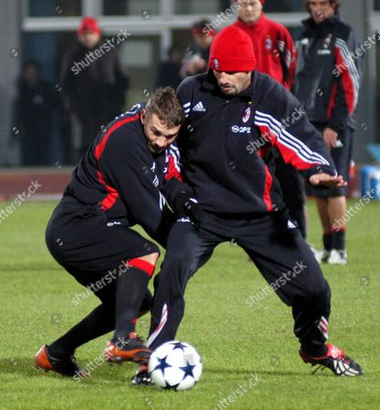 Ac Milan Forward Andriy Shevchenko (l) and Team-mate Giuseppe Pancaro (r) During the Team's Training Session at Todoroki Stadium On Thursday 11 December 2003 European Champions League Winner Ac Milan Play South American Club Champion Boca Juniors in the Toyota Cup On Sunday 14 December 2003