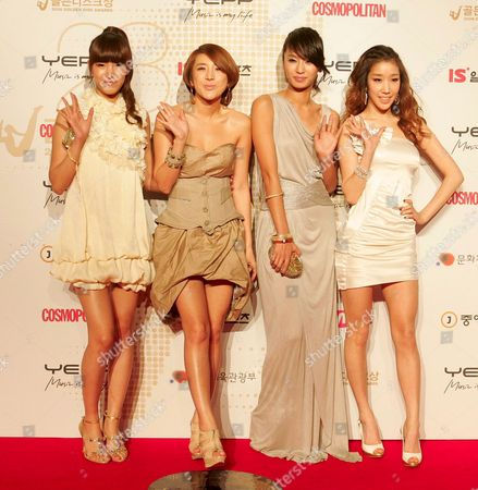 South Korean Women's Dance Group 'Jewelry' Members (l-r) Kim Eun-jung Seo In-young Park Jung-ah and Ha Ju-yeon Pose As They Arrive For the 23rd Golden Disk Awards at the Olympic Hall On Olympic Park in Seoul South Korea 10 December 2008